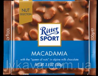 Молочный шоколад  Macadamia Ritter Sport  , 100 гр