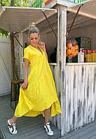 Платье из льна летнее желтое свободного кроя