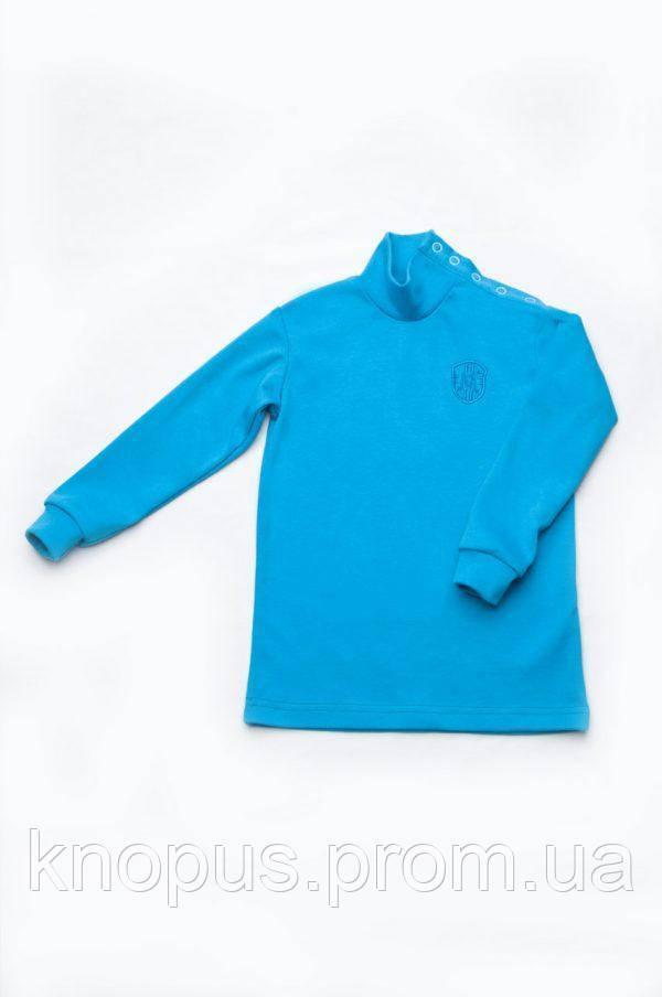 Гольф для мальчиков застежка-кнопки на плече, бирюзовый, Модный карапуз, размеры 86-104