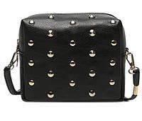 Женская сумка Черная среднего размера Сумочка Goldcask с заклёпками. Длинная ручка. Жіноча сумка. Довгі ручки.