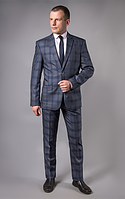 Костюм мужской серый в широкую синюю клетку West-Fashion А 563