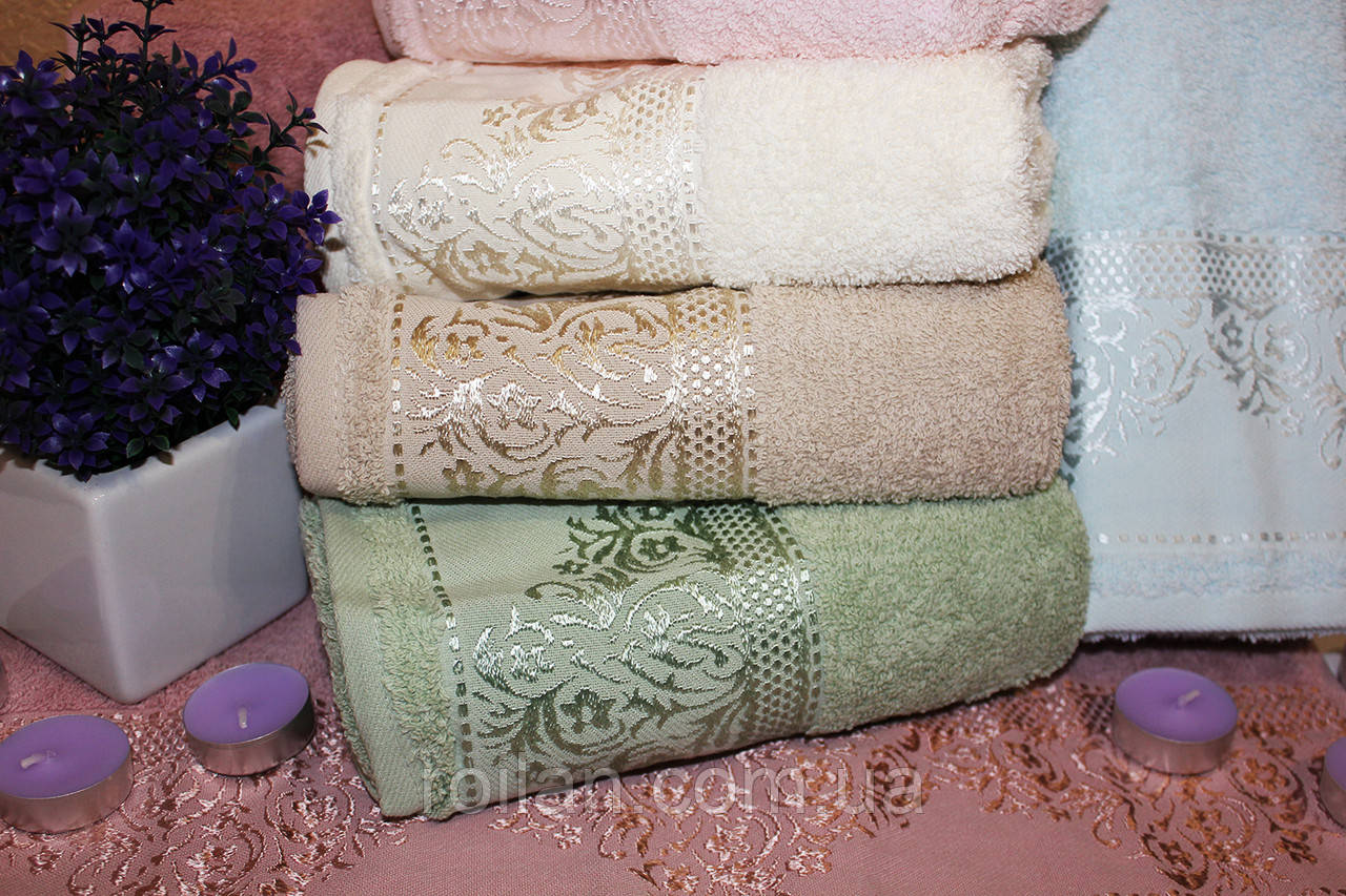 Метровые турецкие полотенца Блестящий Вензель