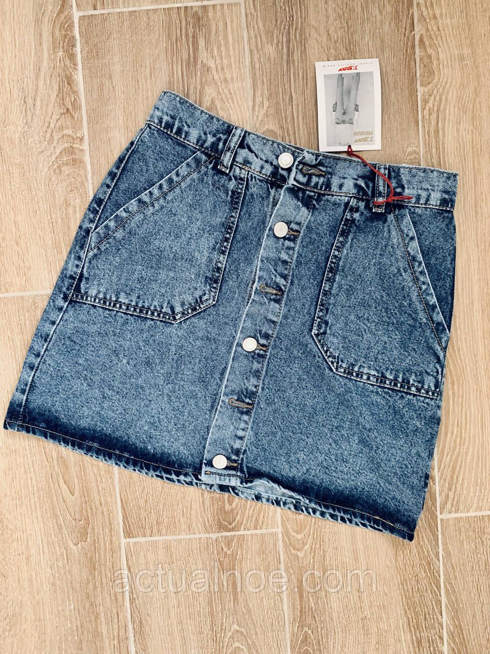 b7bc1efa01a4 Юбка джинсовая мини на пуговицах варёнка