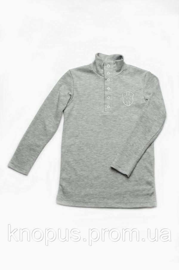 Гольф для мальчиков застежка-кнопки спереди, серый/темно-серый, Модный карапуз, размеры  92-134