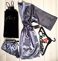 Стильный домашний комплект: атласная пижама и халатик