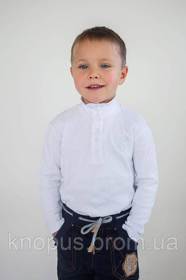 Гольф для мальчиков застежка-кнопки спереди, белый, Модный карапуз, размеры  92-134