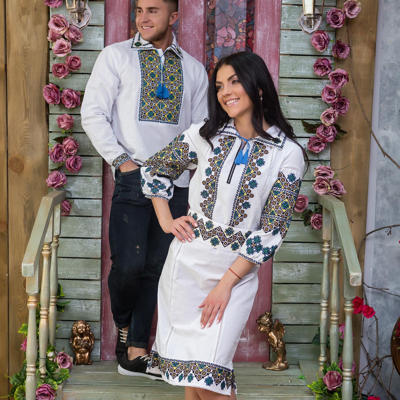 Современные этно вышиванки на домотканом полотне для пары