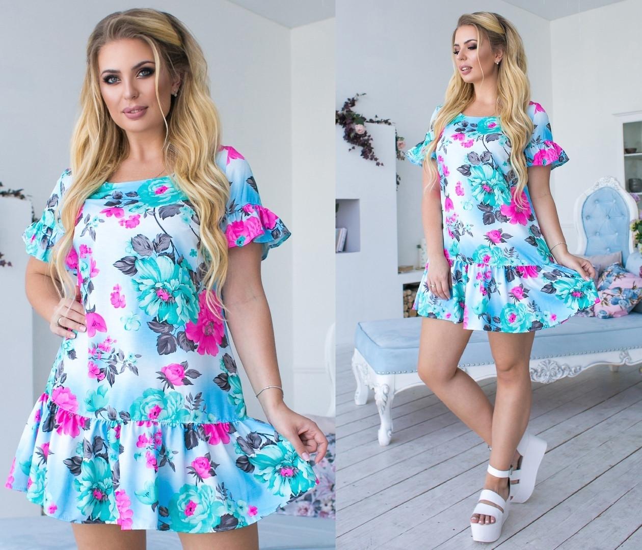 Платье летнее женское цветочный принт большие размеры