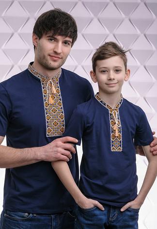 Комплект вышиванок трикотажных папа + сын, фото 2