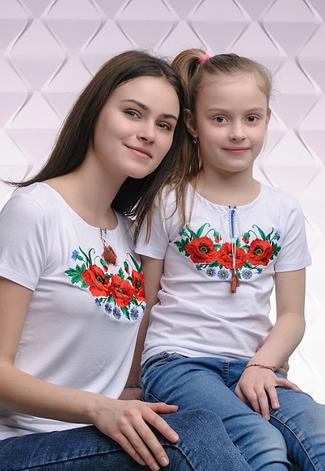 Комплект вышиванок трикотажных мама + дочка, фото 2