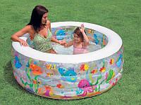"""Бассейн надувной """"Аквариум"""" Intex (58480). Надувное дно, полупрозрачные стенки. 318 литров, 152 * 56 см"""