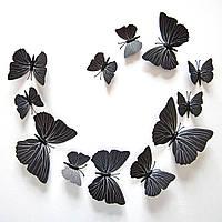 Объемные 3D бабочки. Набор 12 штук, черные. Декоративные наклейки на стену, холодильник, мебель, на магните.