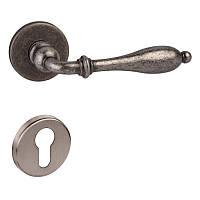 Дверная ручка DND by Martinelli LIRICA 806/12Y-FAN с накладкой под цилиндр античное железо, фото 1