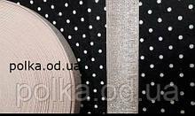 Резинка широкая, цвет пудра/серебро, ширина 35мм(1 уп=25метров)
