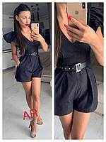 Джинсовый комбинезон женский шортами, стильный,  504-072, фото 1