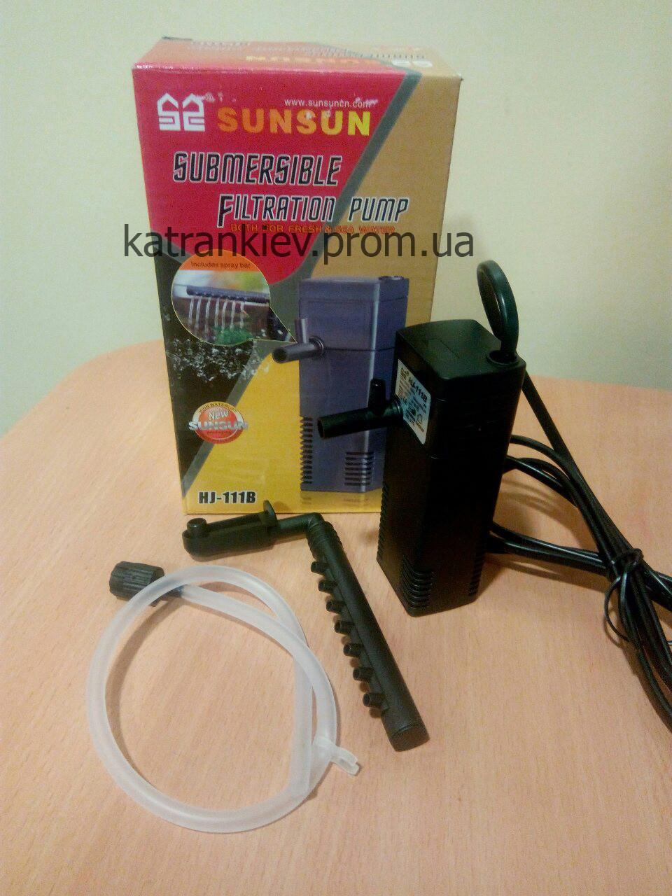 Фильтр для аквариума до 40 л с подачей воздуха/флейтой SunSun Hj-111b
