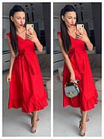 Платье женское летнее, красивое, стильное, миди, красное, 504-076, фото 1