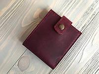 Кожаный женский кошелек ручной работы Goose™ Molle бордовый на хлястике