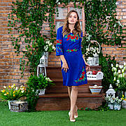 Платье женское СОЛОМИЯ с вышивкой електрик