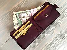 Шкіряний жіночий гаманець Goose™ Montis марсала з монетницею, фото 3
