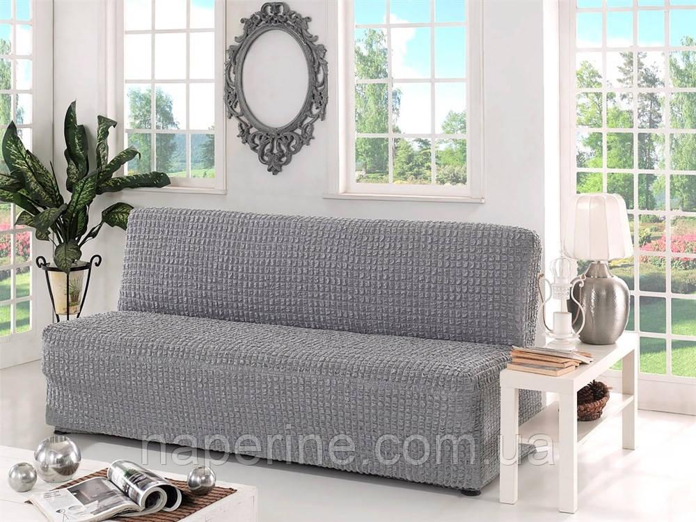 Натяжна чохол на диван без підлокітників MILANO сірий