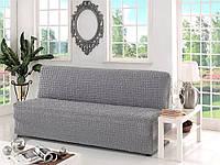 Натяжной чехол на диван без подлокотников MILANO серый
