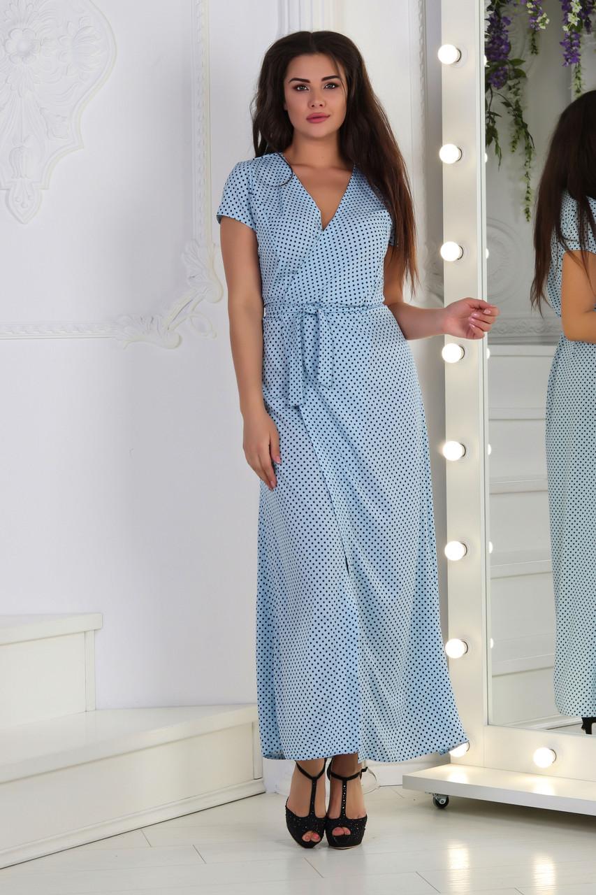 0ff97ac92396683 Платье на запах горошек, №122, голубое - Beluza - производитель женской  одежды в