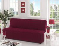 Натяжной чехол на диван  без подлокотников MILANO красное вино + подарок