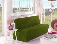 Натяжной чехол на диван  без подлокотников MILANO фисташковый + подарок