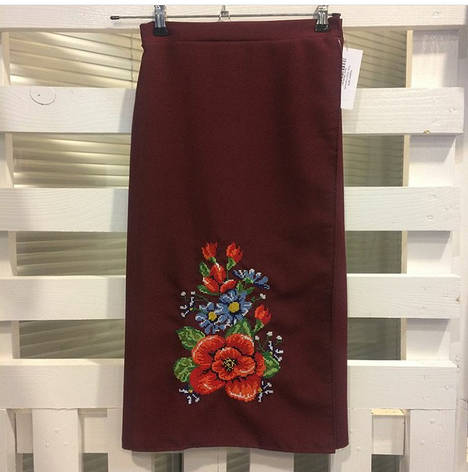 Женская вышитая юбка на запах (плахта) 65 см Мальва бордо, фото 2