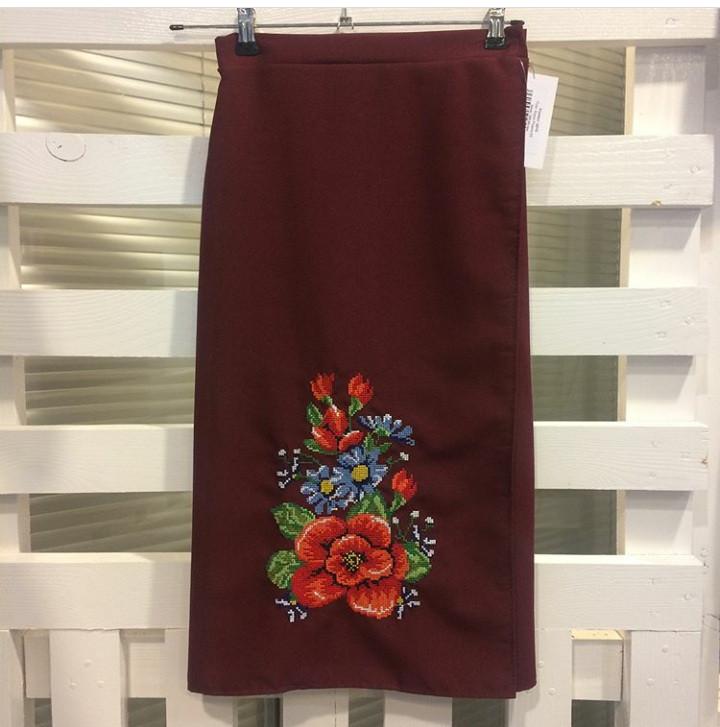 Женская вышитая юбка на запах (плахта) 65 см Мальва бордо