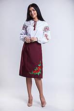 Юбка в национальном стиле (плахта) Соломия большого размера 65 см. бордо , фото 2