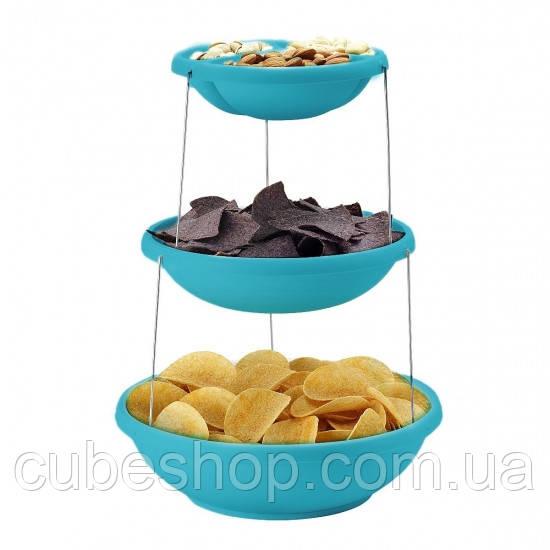 Складная подставка миска для чипсов и фруктов Twistfold Party Bow (голубая)