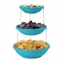 Складная подставка миска для чипсов и фруктов Twistfold Party Bow (голубая), фото 1