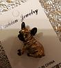 Брошь брошка значок боксер французский бульдог КАК ЖИВОЙ! КОРИЧНЕВЫЙ пес собака металл качество, фото 5