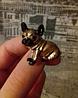 Брошь брошка значок боксер французский бульдог КАК ЖИВОЙ! КОРИЧНЕВЫЙ пес собака металл качество, фото 9
