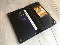 Кожаное портмоне ручной работы Goose™ Сlassic Zipper черный (тревел-кейс), фото 1