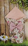 Двухсторонний конверт со съемным синтепоном для новорожденных Зайка, фото 9