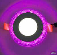 Светодиодный светильник Lemanso Круг Бульбашки 3W+3W, розовый (LM906)
