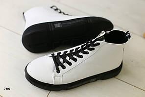 Женские демисезонные ботинки белые на шнурках 36