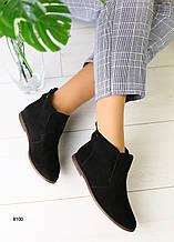 Женские демисезонные ботинки замшевые черные