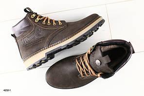Мужские ботинки коричневые кожаные на меху