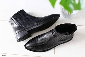 Женские кожаные черные ботинки деми рептилия