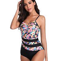 9023 Модный купальник Черный с цветастыми вставками