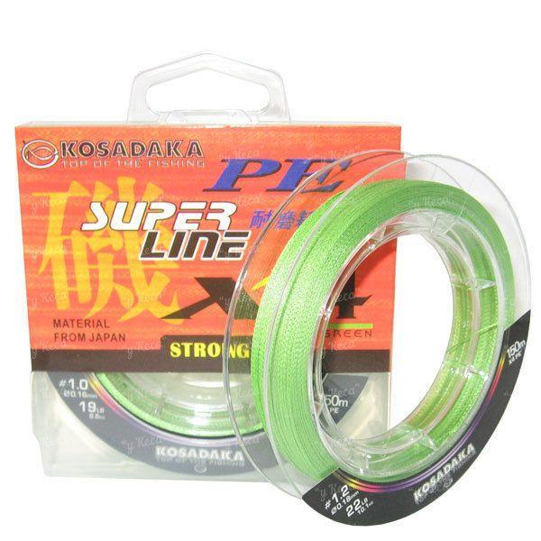 Шнур Kosadaka PE Super Line X4 150m 0.16mm 8.60kg Dark Green