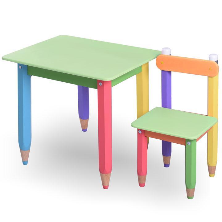 """Комплект детской мебели столик и стульчик  """"Карандашики"""" 60х40 с пеналом (салатовая столешница)"""