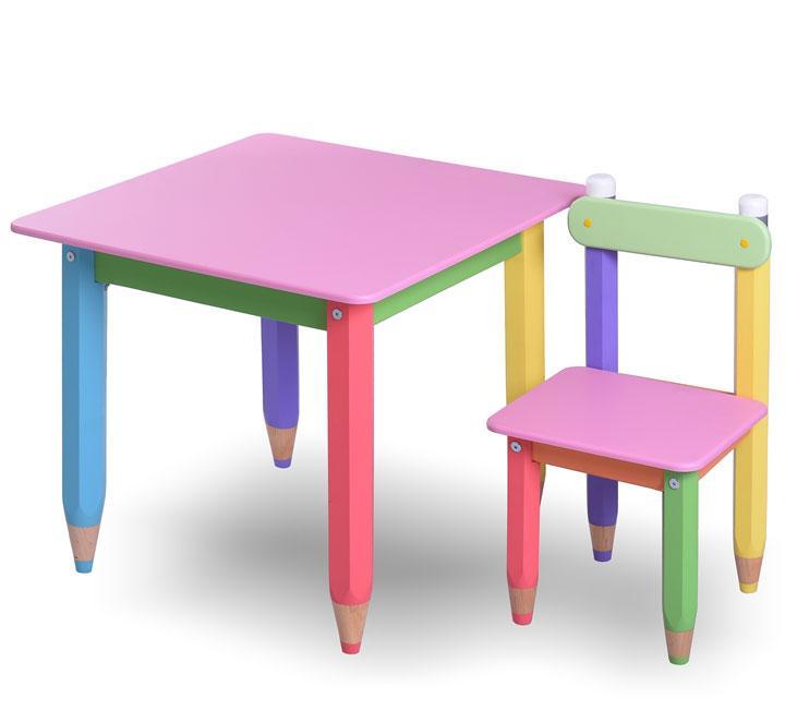 """Комплект детской мебели столик и стульчик  """"Карандашики"""" 60х60 с пеналом (розовая столешница)"""