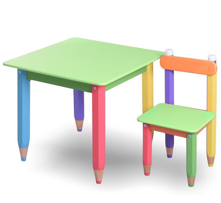 """Комплект детской мебели  из натурального дерева """"Карандашики"""" 60х60 с пеналом (салатовая столешница)"""