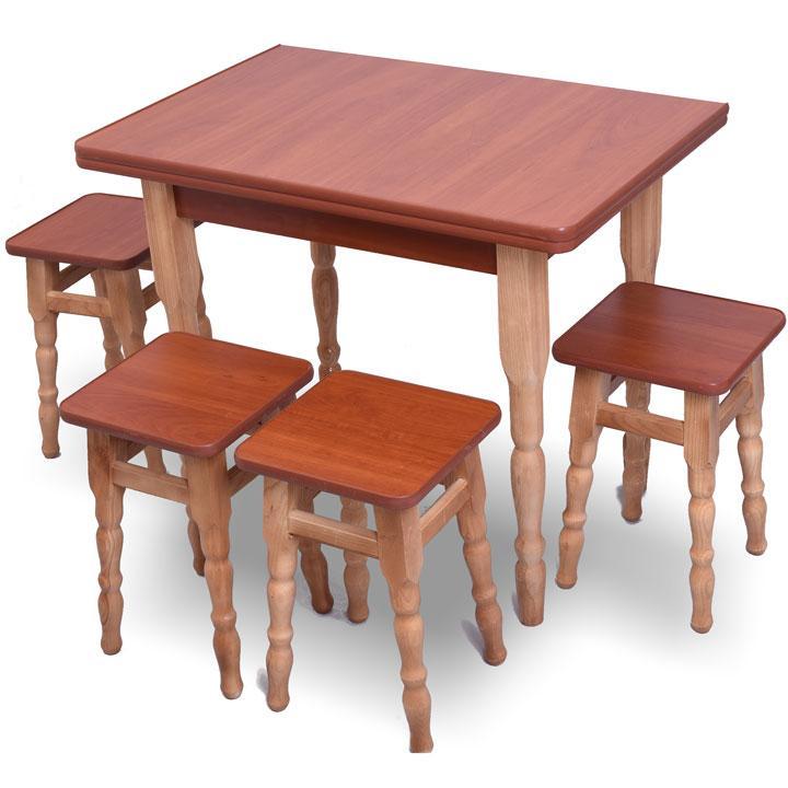 """Розкладний обідній стіл з табуретками """"темний"""" Яблуня"""