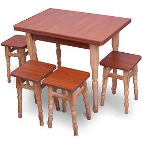 """Раскладной обеденный стол с табуретками """"темный"""" Яблоня"""